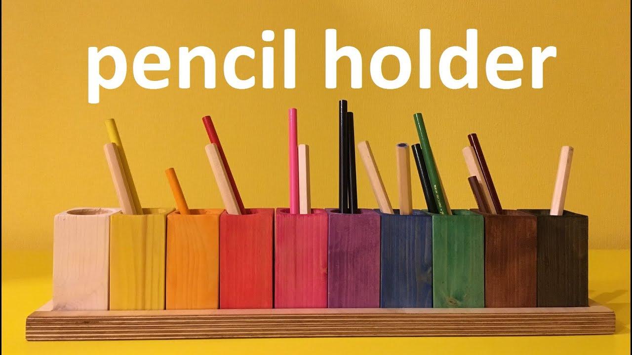wooden pencil holder | diy - YouTube