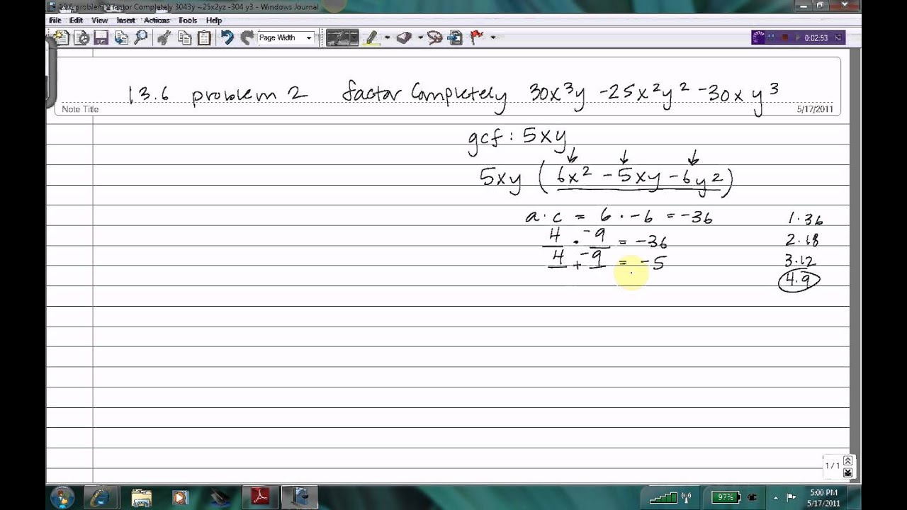 Factoring a trinomial with two variables using the AC Method - YouTube
