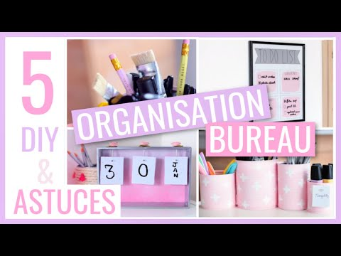 5 DIY & ASTUCES FACILES : BUREAU / Rangement & Organisation