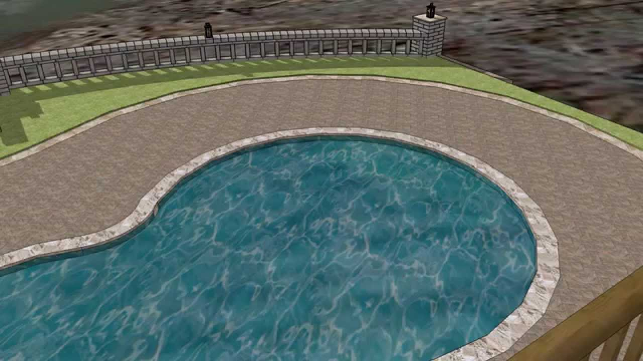 geostone retaining wall with paver pool deck - travertine coping