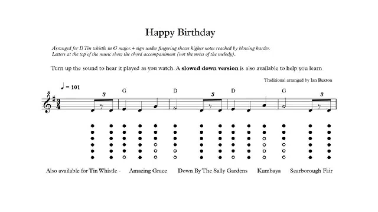 Learn How To Play Happy Birthday On Tin Whistle With Chords Arranged