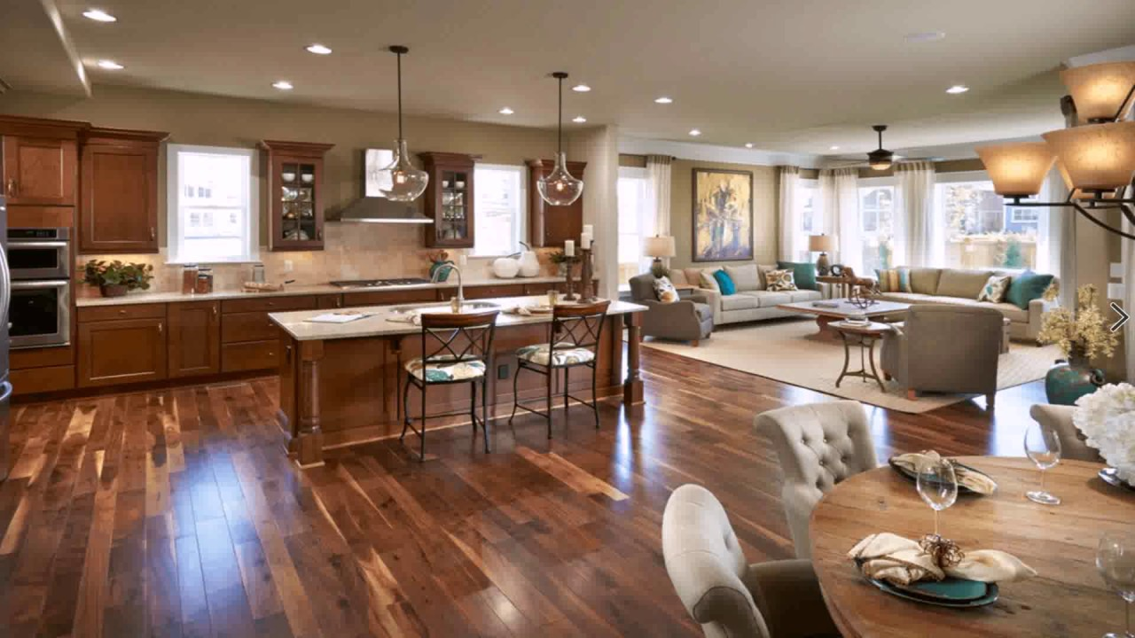Open floor plan living room kitchen dining youtube for Open floor plan kitchen and living room pictures
