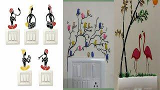 Switchboard Art#creative switchboard design painting ideas in telugu