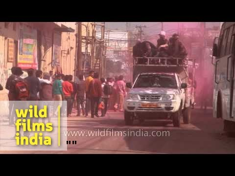 Celebration of Holi in Vrindavan, Uttar Pradesh