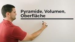 Pyramide, Volumen, Oberfläche, Höhe, Pythagorasrechnungen, etc. | Mathe by Daniel Jung