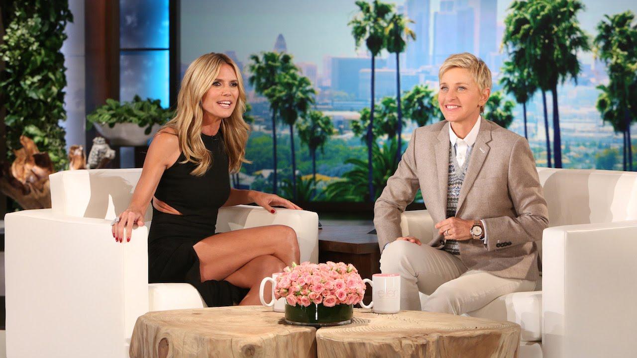 Heidi Klum attempts to scare Ellen DeGeneres live on air