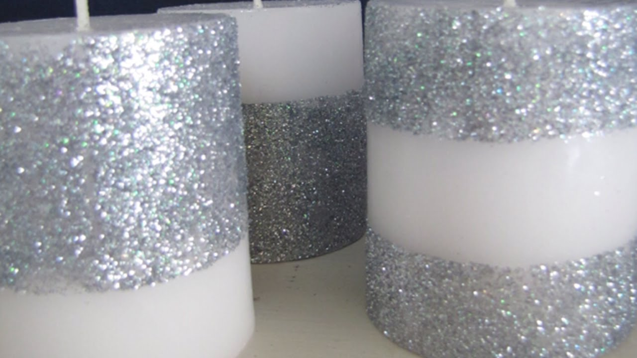 Decorare Candele Bianche : Crea delle luccicanti candele glitterate fai da te casa
