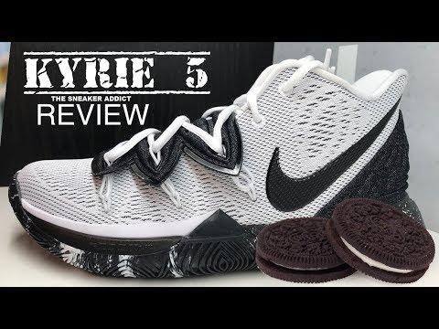 Nike Kyrie 5 Oreo Sneaker Detailed Look Review #nba #kyrieirving #sneakers