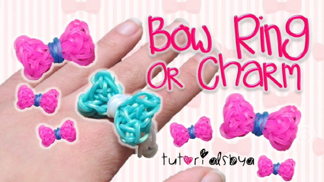 Updated Bow Ring Charm Rainbow Loom Tutorial How To