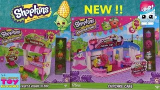 Shopkins Kinstructions Cupcake Cafe & Fruit N Veggie Stand Unboxing | PSToyReviews
