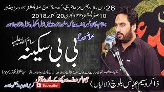 Zakir Wasim Abbas Baloch Full HD 10 Safar 2018 A Block Model Twon Lahore Bibi Sakina (S.A)