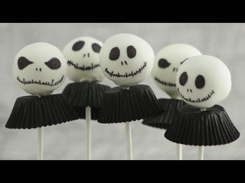 Nuss-Nugat Cakepops im Jack Skellington look - Halloween Woche #5