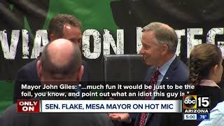Senator Jeff Flake and Mesa's Mayor are caught speaking on a hot mic