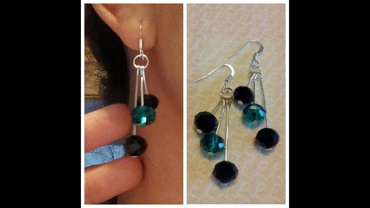 72e4024ba951 Aretes caseros de perlas Pendientes faciles Abalorios caseros Tutorial DIY