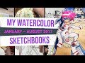 WATERCOLOR anime style DRAWINGS - 3 sketchbooks