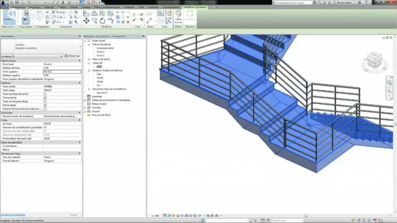 Escaleras por boceto en revit youtube for Escaleras 3d max