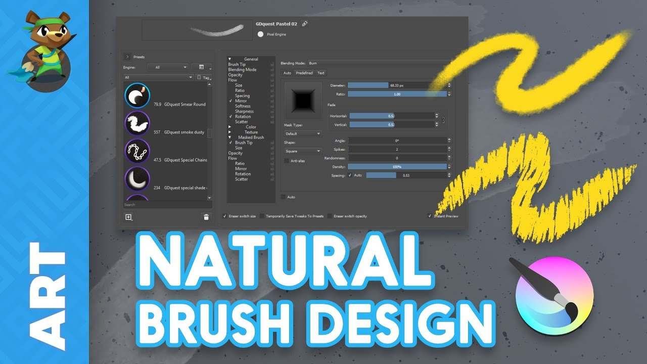 How to Create Natural Brushes In Krita 4 (tutorial)