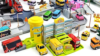 Tayo The Little Bus City Play Set w/ Construction Site, Kindergarten, Delivery Center, Fire Station