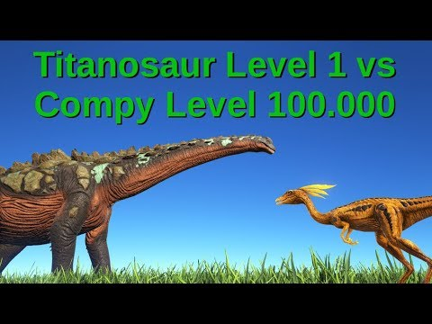 Titanosaur (lvl 1) vs Compy (lvl 100.000) || ARK: Survival Evolved
