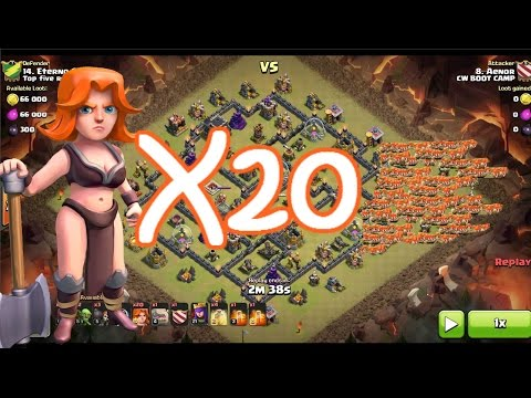Clash of Clans | 20 Valkyries, NO King - OVERKILL Maxed Defenses Th9