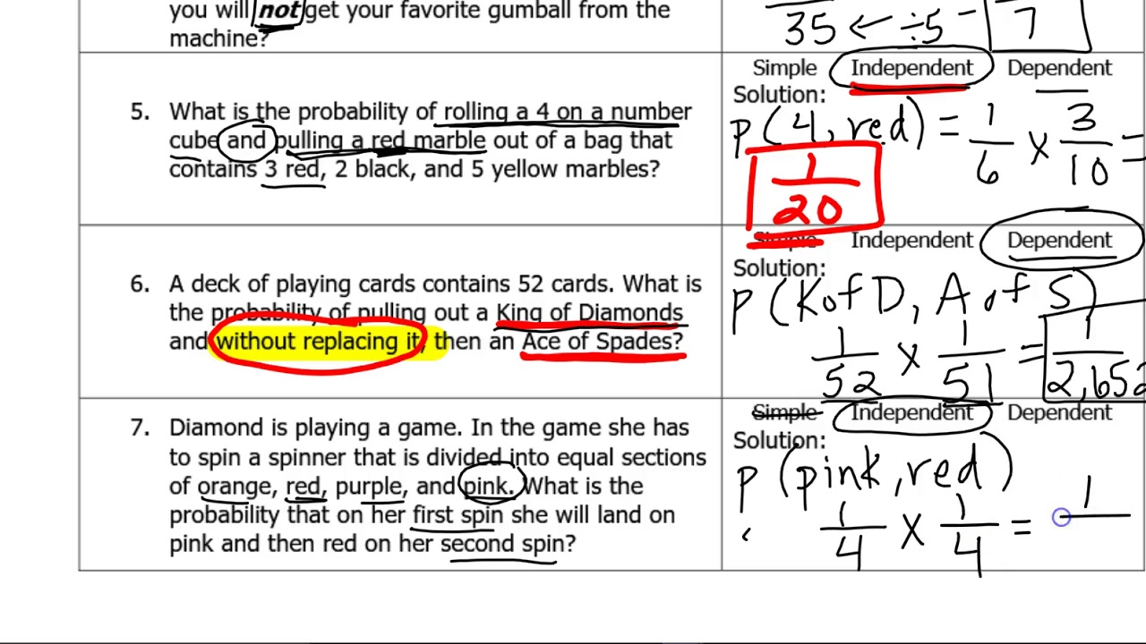 small resolution of Probability of Compound Events worksheet review - YouTube