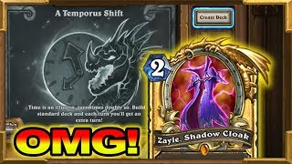 Hearthstone: Playing Zayle, Shadow Cloak In A Temporus Shift Tavern Brawl | This Is Really Good!