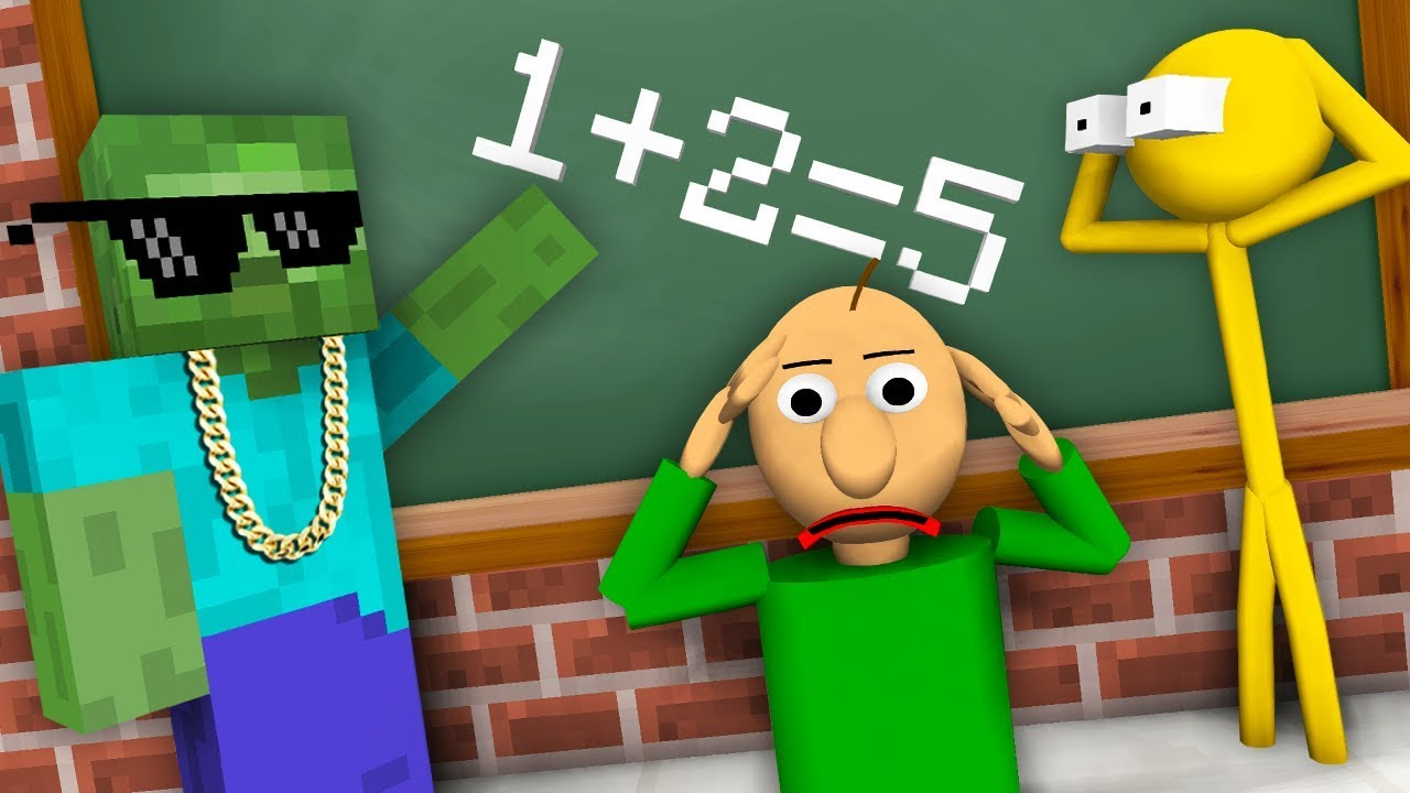 Monster School : STICKMAN & BALDI'S BASICS CHALLENGE - Minecraft Animation
