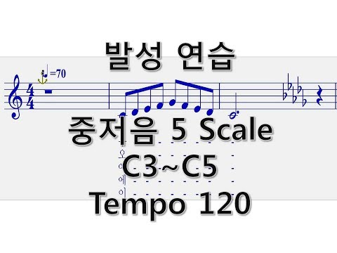 발성연습. 5 Scale 고음까지(C3~C5) Tempo120