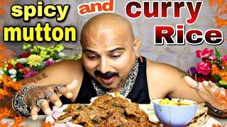 Spicy mutton white rice & anda curry ll chicken leg piece