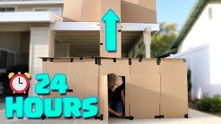 24 Hours in a 2 Story Box Fort