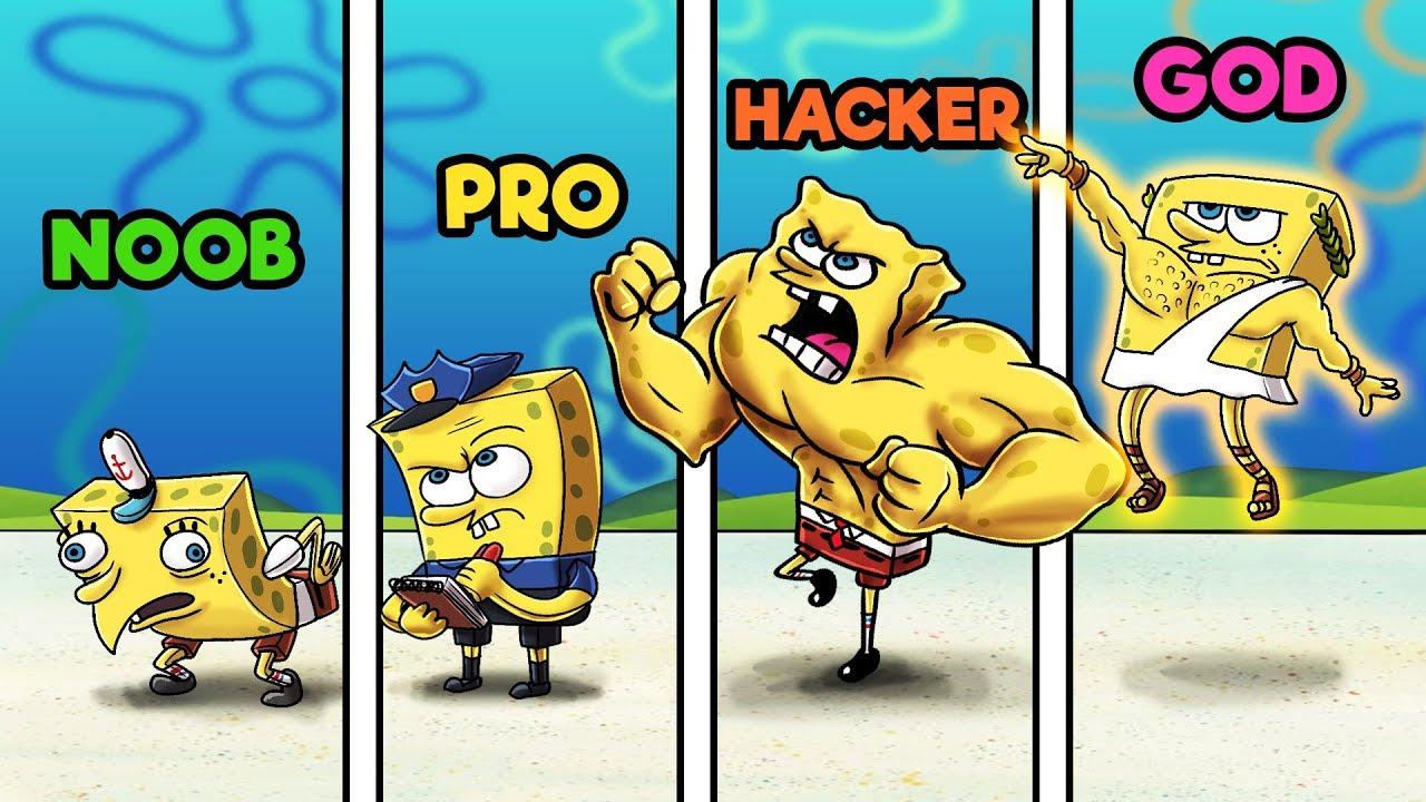Minecraft - NOOB vs PRO vs HACKER vs GOD - SPONGEBOB HIDE AND SEEK!