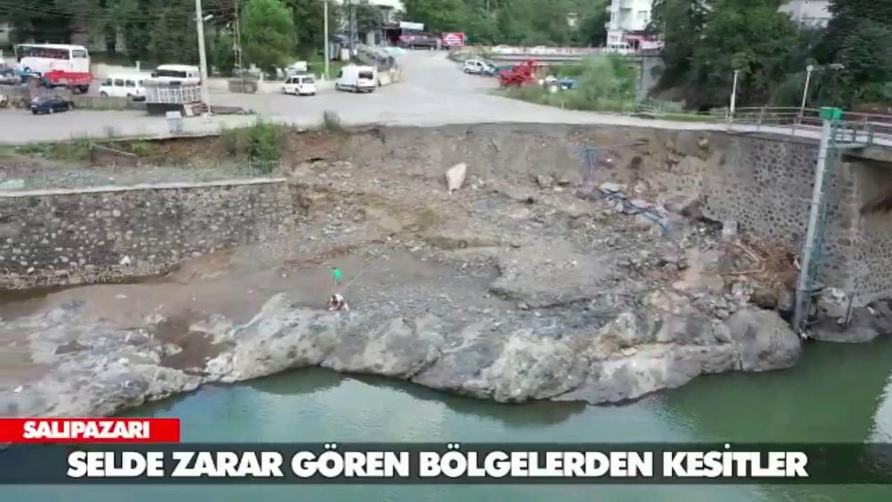 SALIPAZARI'NDA HASAR DRONLA GÖRÜNTÜLENDİ.