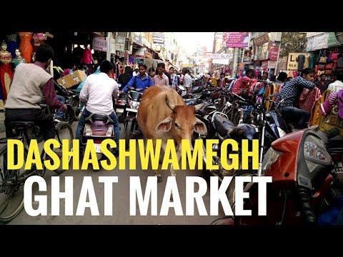 Dashashwamegh Ghat Market, (Varanasi). Crowded city.