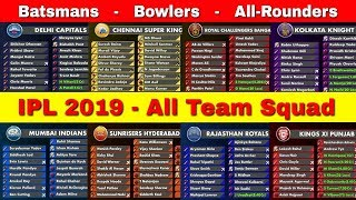 IPL 2019 : ALL IPL Team Squad for IPL 2019