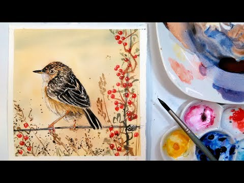 LIVE: Sweet Bird in Muted Colors 12:30pm ET Watercolor Tutorial