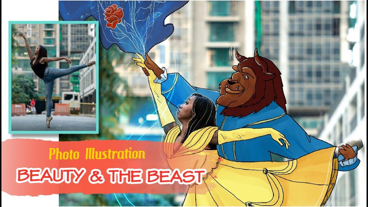 Vẽ người đẹp và quái vật ở thời hiện đại | #1 Photo Illustration | Beauty and the Beast | Doodle Art