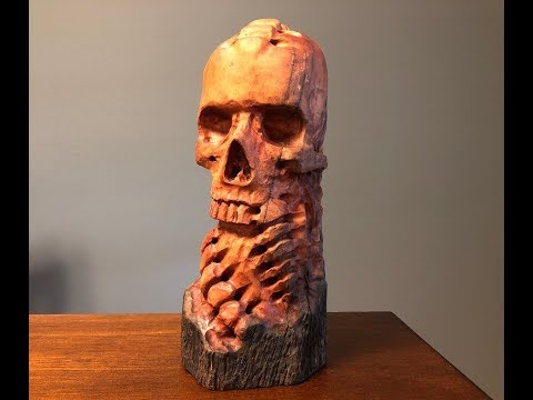 Wood Carving The Skull.