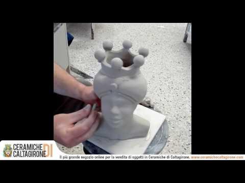 Teste di moro in ceramica di caltagirone - Lavorazione a mano