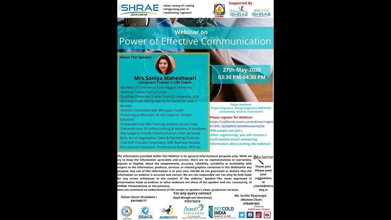 Download Power of Effective Communication by Mrs. Soniya Maheshwari on 27th May 2020