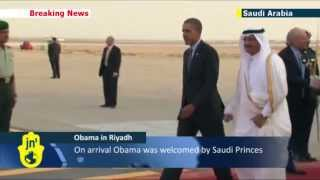 Obama in Arabia: US President Barack Obama arrives in Saudi Arabia ahead of King Abdullah talks