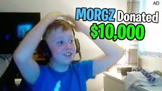 I Donated $10,000 to a 9 Year Old Kid Streaming Fortnite... thumbnail