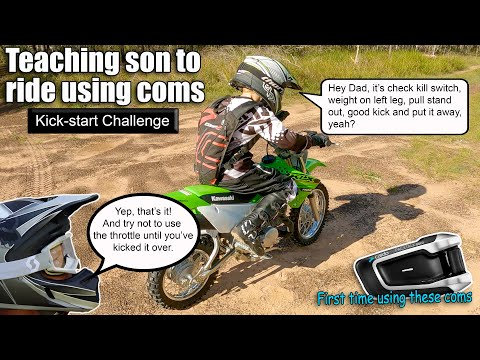 Teaching son to ride motorbike - Kickstart Challenge - Cardo Coms