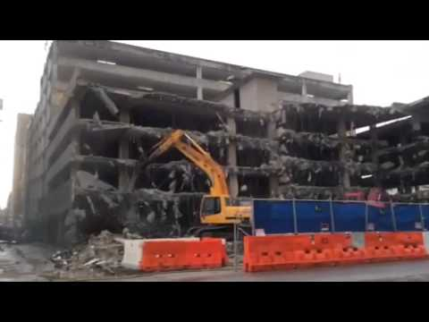 Demolition Of Old Parking Garage At 5th & Brazos Streets In Austin Texas