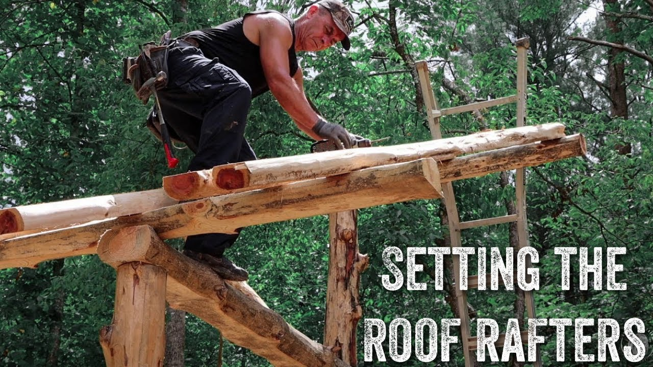 S2 EP24 | TIMBER FRAME | FOREST KITCHEN | SETTING THE ROOF RAFTERS