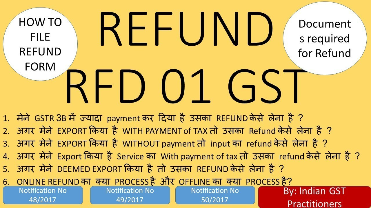 Refund in GST RFD 01 FORM