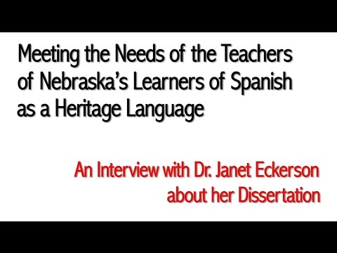 Meeting the Needs of the Teachers of Nebraska's Learners of Spanish as a Heritage Language