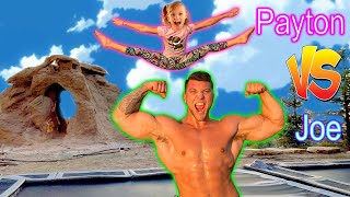 Payton the Gymnast VS Joe the GIANT! TRAMPOLINE CHALLENGE!