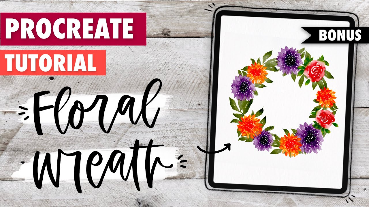 Procreate TUTORIAL: Watercolor Florals Wreath