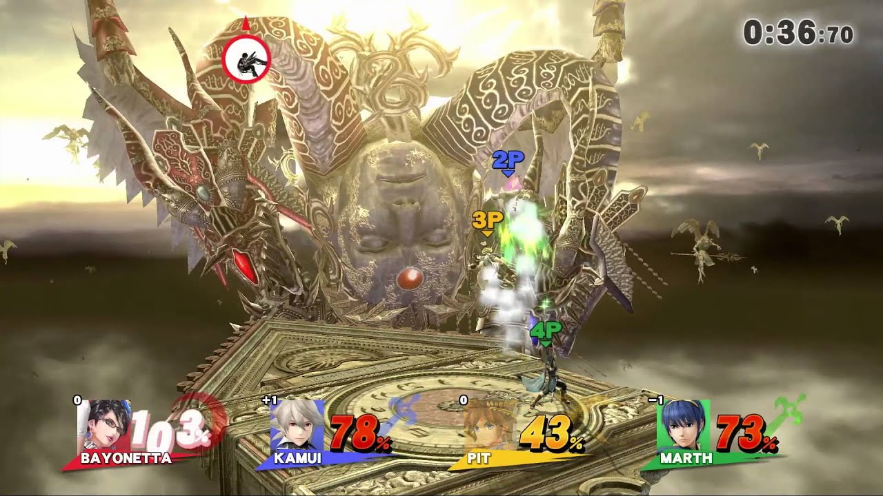 【スマブラ3DS・WiiU】ベヨネッタ・カムイプレイ映像(4人乱闘/アンブラの時計塔) - (Smash Bros. 3DS WiiU) Bayonetta - Kamui play the video (the clock tower of four brawl / Ambra)