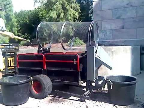 Rotary compost sifter from repurposed materials - YouTube